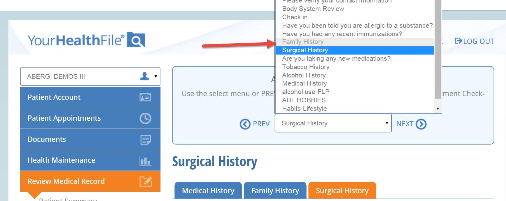 Update Medical history at NextGen Office patient portal