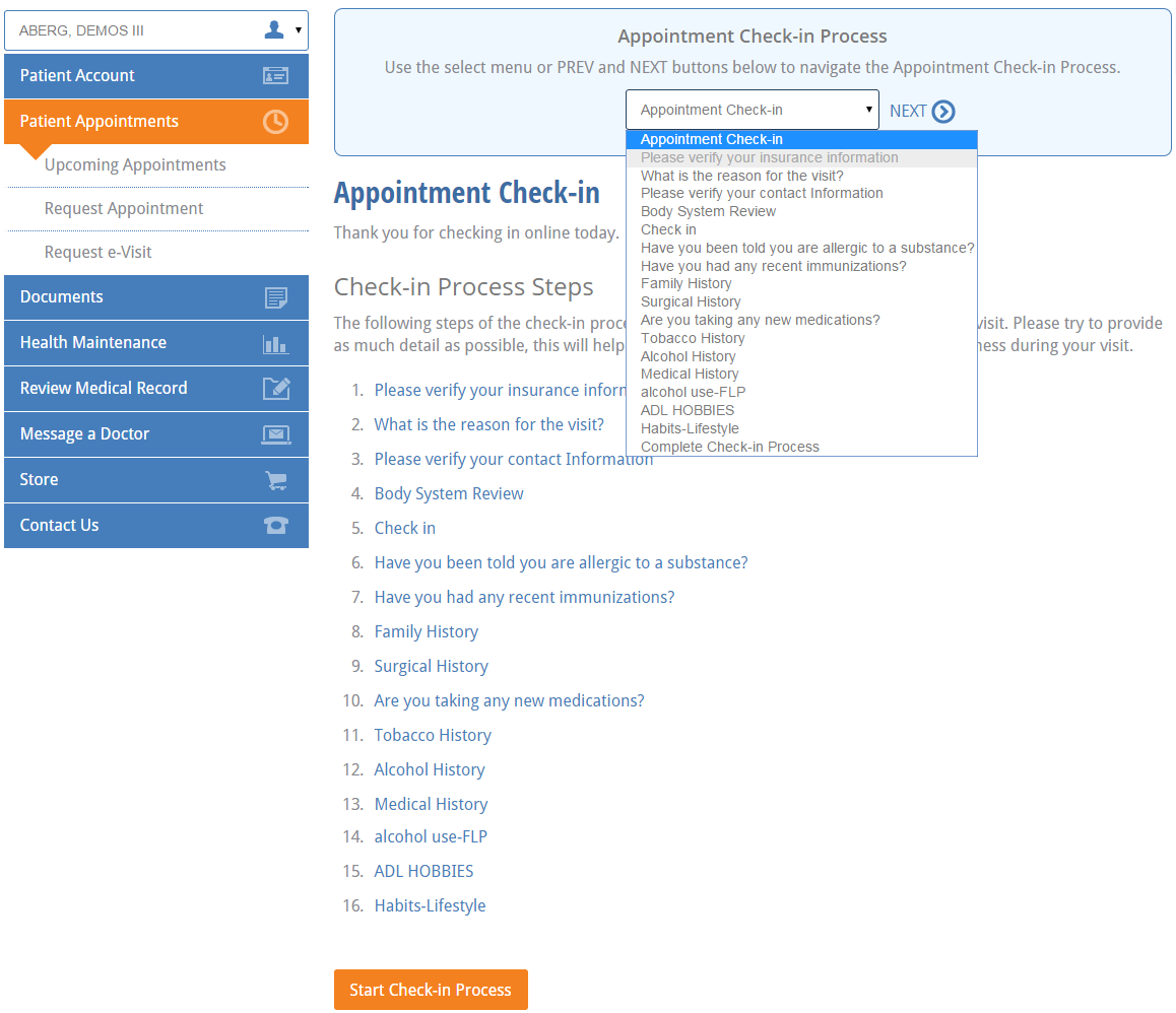 start check in process at the nextgen office patient portal